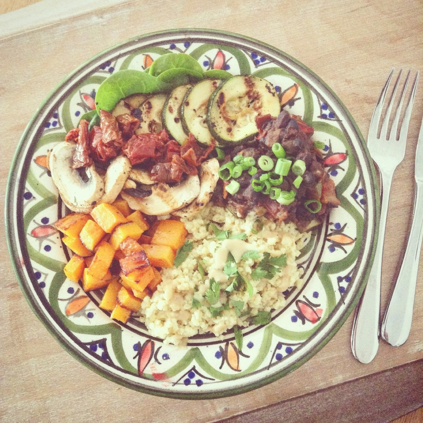 Roasted Vegetables, Mexican Beans andMillet.