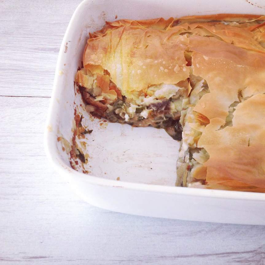 Potato, Aubergine and Spinach Spanakopita